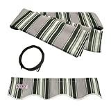 ALEKO FAB12X10MSTRGR58 Retractable Awning Fabric Replacement 12 x 10 Feet Multi-Stripe Green