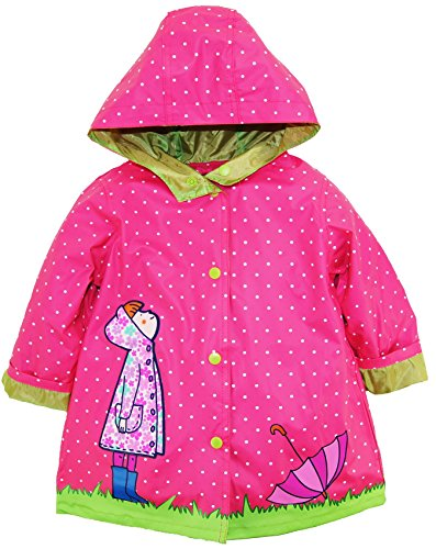 Wippette Little Girls Polka Dot Girl with Umbrella Hooded Raincoat Jacket, Pink, 3T Childs Polka Dot
