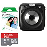 Fujifilm instax SQUARE SQ10 Hybrid Instant Camera + Fujifilm Instax Square Instant Film (10 Exposures) SanDisk 16GB Ultra UHS-I microSDHC Memory Card (Class 10) – Valued Accessory Bundle