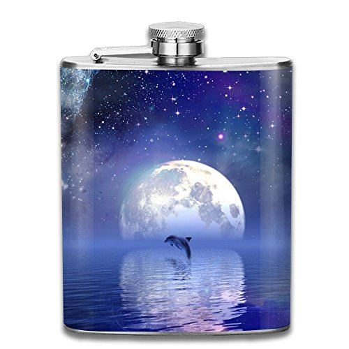 Cup Ramen Costume (Dolphins Under The Stars Flasks Stainless Steel Liquor Flagon Retro Rum Whiskey AlcoholPocket Flask Liquor Flagon Retro Rum Whiskey Flask Great Gift 7OZ Lightweight)