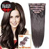 "14"" Remy Human Hair Clip in Extensions for Women Dark Brown(#2) 6Pieces 70grams/2.45oz"