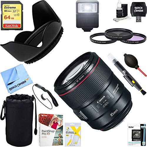 Canon (2271C002) 85mm f/1.4L IS USM Fixed Prime Digital SLR Camera Lens + 64GB Ultimate Filter & Flash Photography Bundle