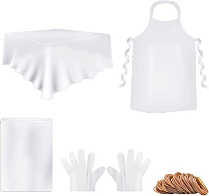 Cizen Kit de pintura DIY para camisas, accesorios para pintura de camisa para niños y adultos, incluye delantal desechable, manta de plástico, ...