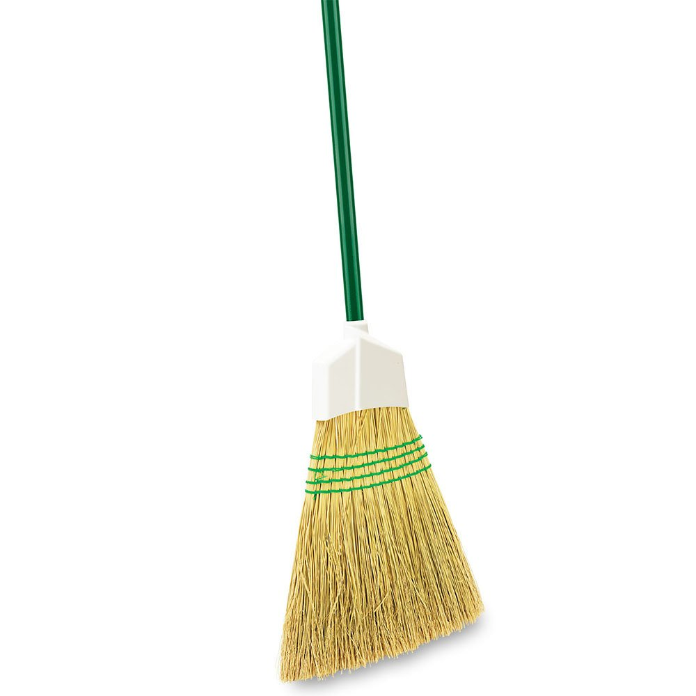 Libman Commercial 101 Traditional Corn Broom, 100% Natural Broomcorn, 11'' Wide, Green Handle (Pack of 6)