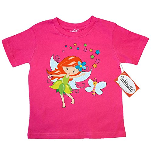 Inktastic Little Boys' Fairy Girl with Sparkles and Butterfly Toddler T-Shirt 4T Hot Pink