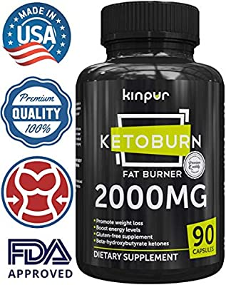 Ketoburn 2000mg Keto Fat Burner Dietary Supplement with goBHB - Keto Exogenous Ketones Boost Energy and Support Appetite Control for Weight Loss and Body Sculpting (90 Capsules)