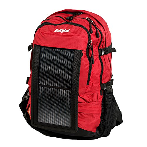 PowerKeep ENERGIZER Wanderer, 30L Solar Backpack w/10000mAh BATTERY, rugged and flexible SOLAR PANEL, powerbank, hydration ready (Red) by PowerKeep