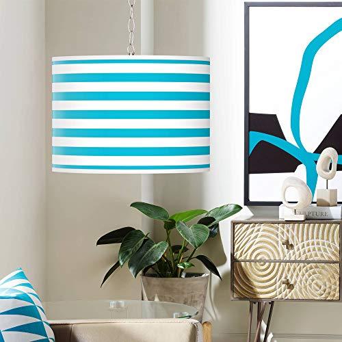 Swag Style Aqua Horizontal Stripe Shade Plug-in Chandelier - Giclee Gallery