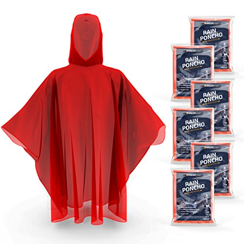 Disposable Rain Ponchos for Adults by Hagon Pro – ( 6 PACK ) Premium Quality 50% Thicker – 100% Waterproof Emergency Rain Ponchos with Hood – for Concerts, Amusement Parks, (Red Poncho)