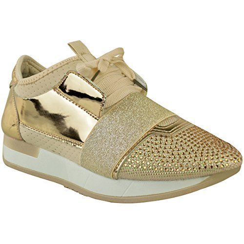 Womens Ladies Diamante Trainers Bali Runners Sneakers Lace Up Sports Fitness New Gold Metallic SzSaJXy