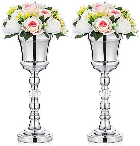 2 Pezzi Vaso da Tromba da Tavolo in Metallo per Matrimonio, con Cristallo, Centrotavola Decorativo da Tavolo per Cerimonia di Anniversario, Compleanno, Navata, Decorazione della Casa, Argento