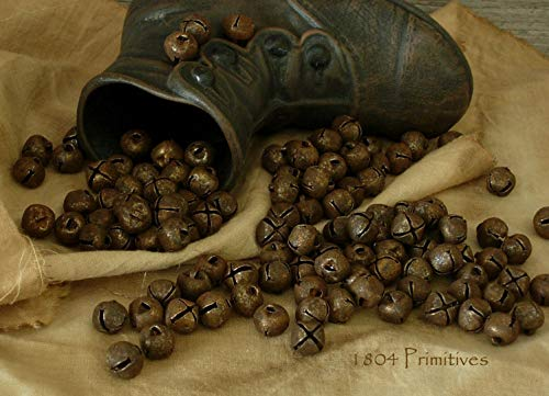 (Primitive & Country Style 144 Primitive Rusty Tin 3/8'' Jingle Bells 10mm ~ Rustic Home Decor)