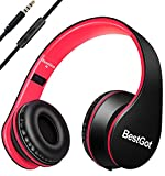 BestGot Headphones for Kids Boys Over Ear kids headphones with Microphone In-line Volume With Transport Cloth Bag Foldable Headphones with 3.5mm plug removable cord (Black/Red)