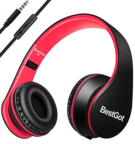 BestGot Headphones for Kids Boys Over Ear kids headphones with Microphone In-line Volume With Transport Waterproof Bag Foldable Headphones with 3.5mm plug removable cord (Black/Red)