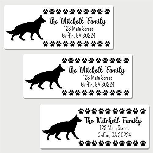 - 60 Personalized German Shepherd Themed Return Address Labels (AL16)