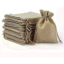 Wuligirl 30PCS Burlap Bags 4X6 Drawstring Cotton Lining Jewelry Pouches Sacks Bag Wedding Favors, Party, DIY Craft(Burlap Brown)