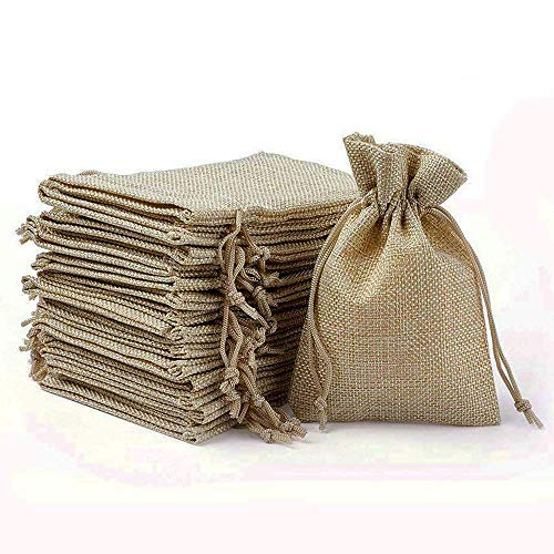 Wuligirl 30PCS Burlap Bags 4X6 with Drawstring and Cotton Lining Jewelry Pouches Sacks Bag for Wedding Favors, Party, DIY Craft(Burlap Brown)