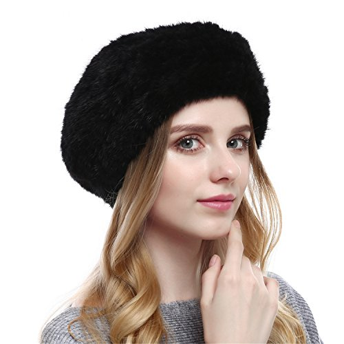 Qhome Winter Autumn Women Beret Beanie Kinitted Mink Fur Hat Mink Fur Brand Female Hats Winter Fashion Formal Cap For Girls