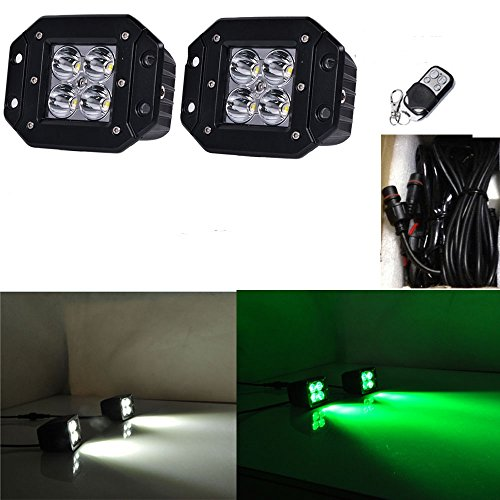 Price comparison product image Night Break Light 2pcs 24W White Green Flush Mount Led Pod Remote Controller 9 Flashing Patterns for Offorad Jeep USV ATV White Green Led Strobe Lights Emergency free Wire Harness