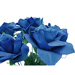 2 Bushes Open Rose Artificial Silk Flowers Bouquet 6-7203 Royal Blue 106