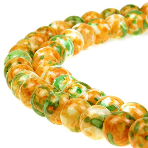 JarTc 5A Smooth Round Rain Flower Stones Beads DIY Bracelet Jewely Making 15'' (8mm, yellow) (Beads Flowers Yellow Round)