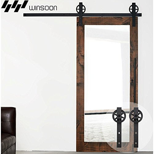 WINSOON 5-16FT Single Wood Sliding Barn Door Hardware Basic Black Big Spoke Wheel Roller Kit Garage Closet Carbon Steel Flat Track System (6.6FT)