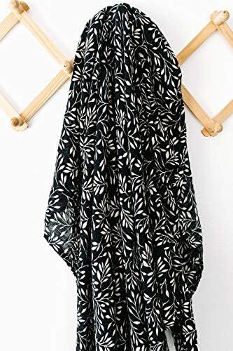 Mebie Couverture en mousseline pour bébé Motif vignes noires