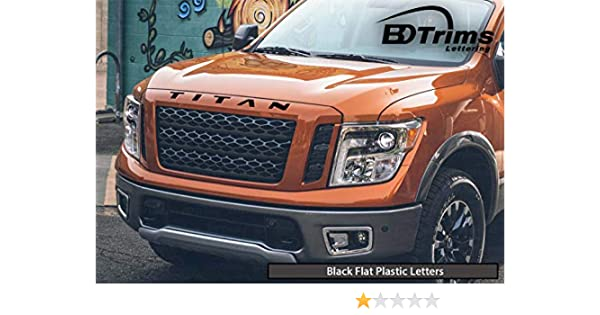 Matte Black Letters for Nissan Titan Hood Grill ABS Plastic Inserts XD 2016/&UP