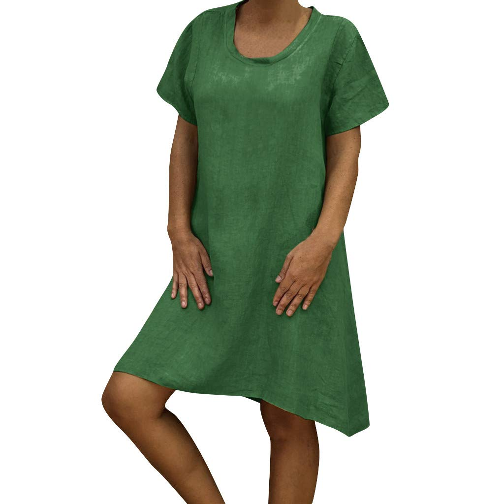 Zaidern Women Dress Women's O Neck Casual Solid Above Knee Dress Sleeve Loose Party Mini Dresses Sundress Green