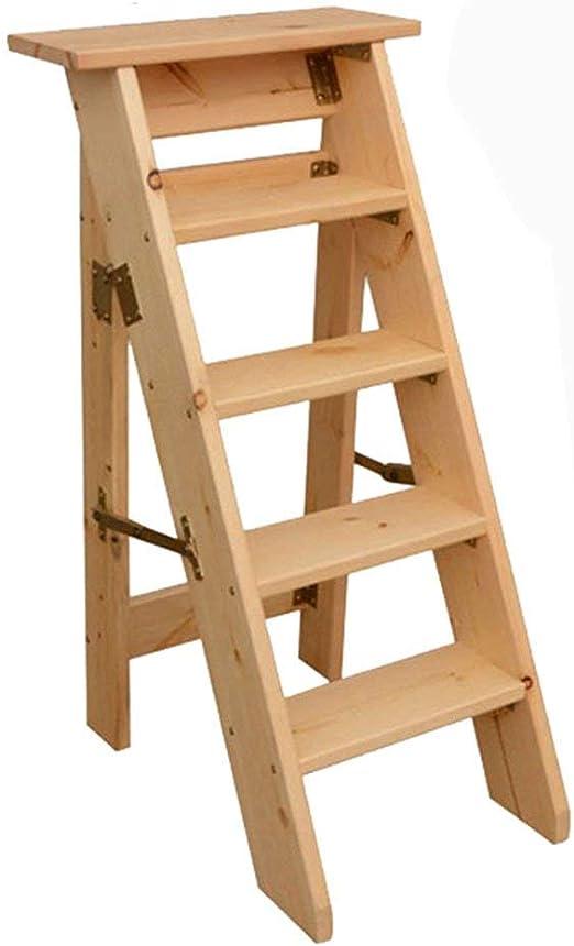 YUHAO - Taburete de escalera de madera maciza para uso doméstico, doble uso, escalera plegable para interiores, soporte para flores, color madera: Amazon.es: Hogar