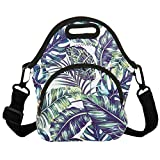 Neoprene Lunch Bag Reusable Tote Bag Insulated Lunch Box Adult Large Lunch Tote Handbag Fordable for Men & Women, Boys & Girls, Green Leaf