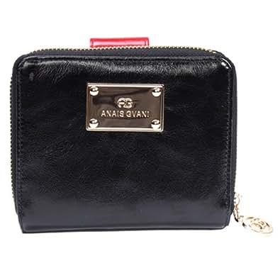 Anais Gvani Women's Genuine Italian Leather Block-Color & Zip-Around Wallet Purse -Black/Red
