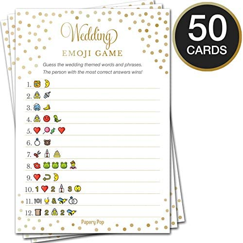 Bridal Shower Games - Wedding Games - Set of five Activities - (50 Cards Each, 250 Total) - Bridal Shower Supplies - Gold Polka Dots