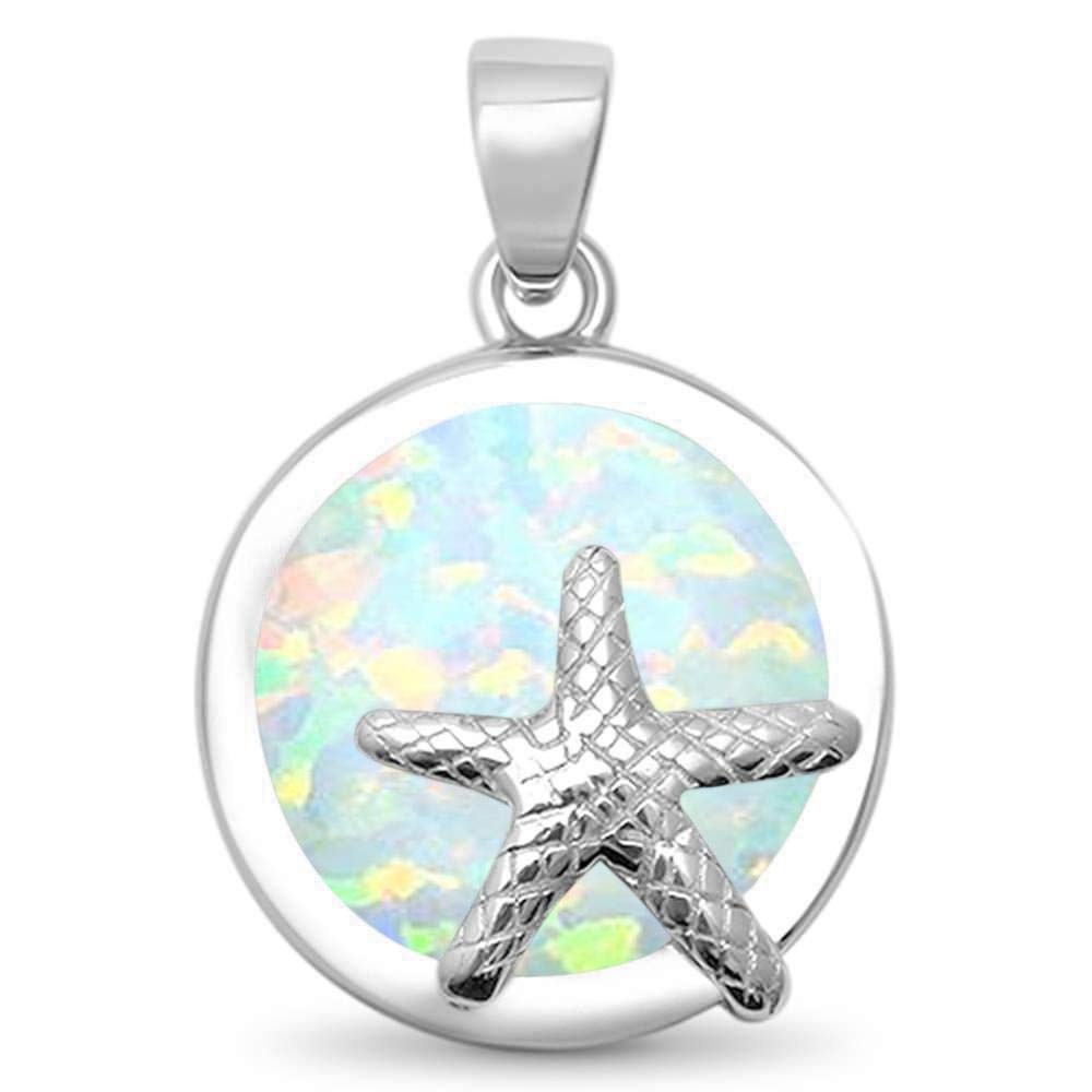 CloseoutWarehouse Simulated Opal Starfish Dangling Pendant Sterling Silver