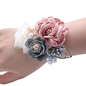 Florashop Satin Rose Wedding Bridal Corsage Bridesmaid Wrist Flower Corsage Flowers Pearl Bead Wristband for Wedding Prom Party Homecoming 2 pcs-Pink Wrist Corsage 87