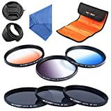 K&F Concept 58mm 6pcs Lens Accessory Filter Kit Neutral Density Filter for Canon 600D EOS M M2 700D 100D 1100D 1200D 650D DSLR Cameras - Includes Filter Kit(ND2+ND4+ND8,Graduated Color Blue,Orange,Gray) + Microfiber Lens Cleaning Cloth + Petal Lens Hood +