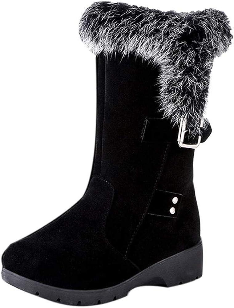 Pervobs Women Snow Boots Buckle Plus Velvet Voots Wedge Platform Winter Warm Ankle Boots Shoes