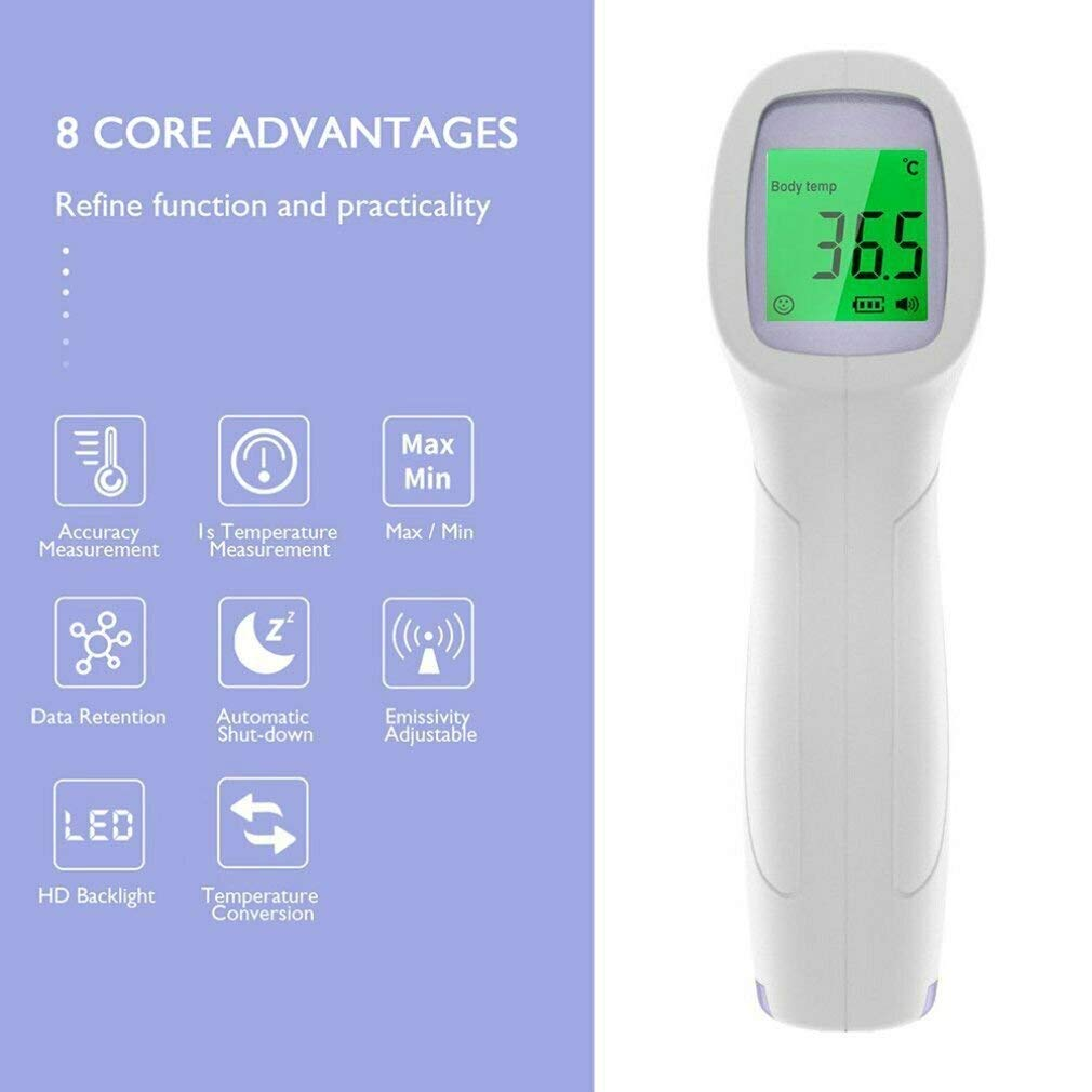 High Temperature Alarm Non-Contact Forehead Infrared Thermometer for Kids /& Adults 1Second Accurate Instant Reading Forehead Thermometer with LCD Display