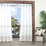 "Parasol Summerland Key Sheer Indoor/Outdoor Curtain Panel, 52"" x 95"", White"