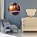 36'' Porthole Instant Space Window View SOLAR SYSTEM #1 ROUND silver Wall Decal Home Kids Sticker Game Room Art Decor LARGE