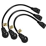 Nekteck [UL Listed] Extension Cord Cable 360 Degree Rotating Flat Plug with 14AWG Power Cord 1 feet [3 Pack]