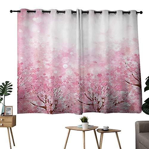 NUOMANAN Bedroom Curtains 2 Panel Sets Light Pink,Japanese Cherry Blossom Sakura Tree with Romantic Influence Asian Nature Theme,Baby Pink,for Bedroom,Nursery,Living Room 42