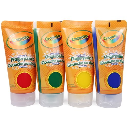 Image of Crayola Washable Finger Paints, 4-Count ( 4 ounce tubes ), Red, Blue, Yellow and Green