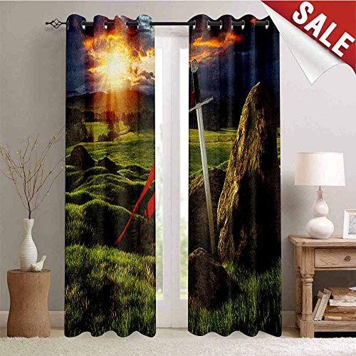 - King, Waterproof Window Curtain, Arthur Camelot Legend Myth in England Ireland Fields Invincible Myth Image, Room Darkening Wide Curtains, W84 x L84 Inch Green Blue and Red