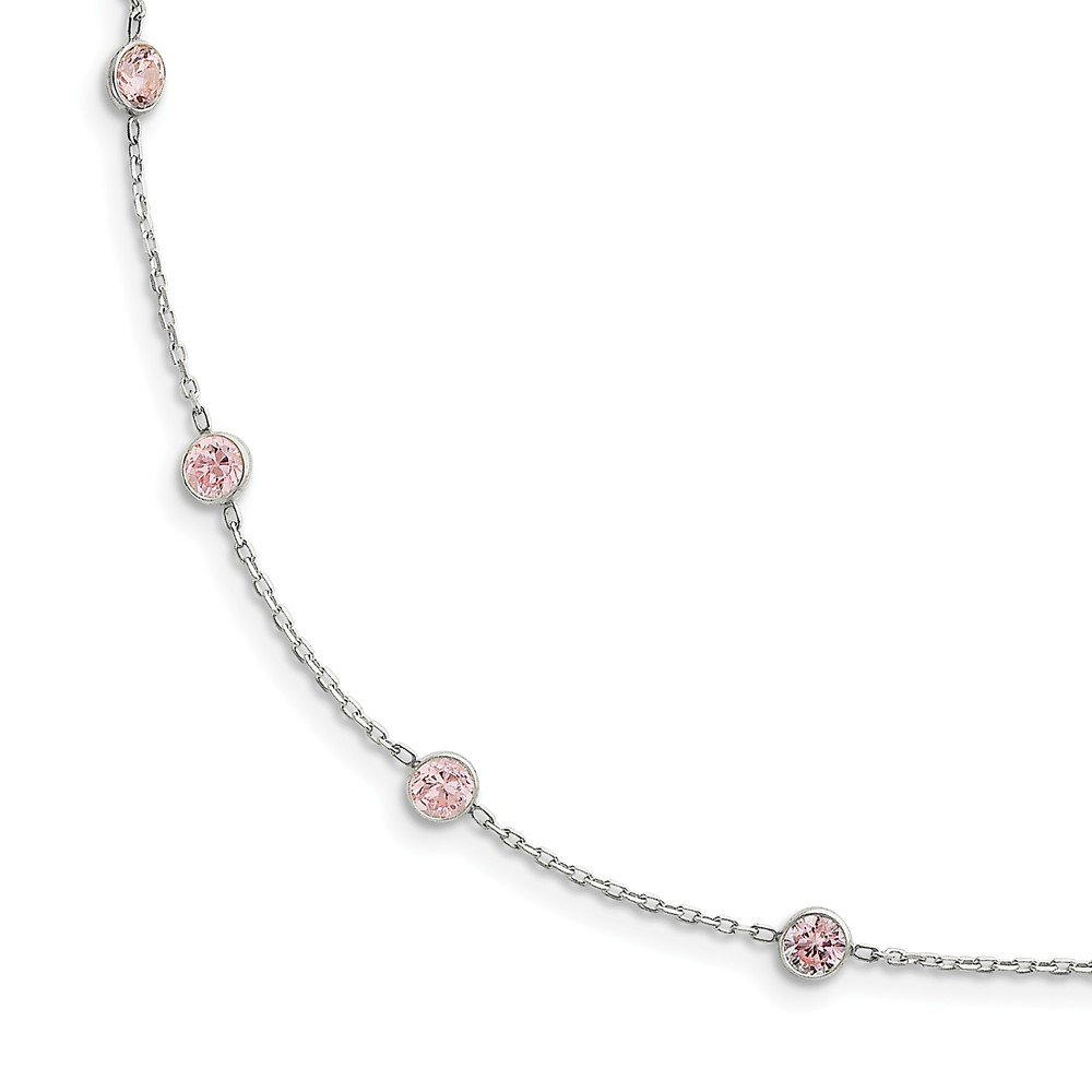 Sterling Silver Pink CZ Necklace 4x5mm 18 Inches