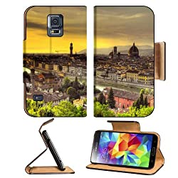 Florence Italy Sunset Beautiful Scenery Samsung Galaxy S5 SM-G900 Flip Cover Case with Card Holder