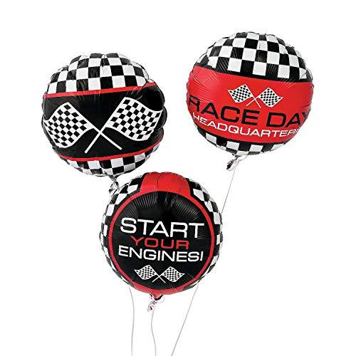 Fun Express - Racing Print Mylar Balloon for Birthday - Party Decor - Balloons - Mylar Balloons - Birthday - 3 Pieces