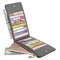 Yaluxe Womens Genuine Leather Wallet Billfold Multi Card Holder with Zipper Pocket for Phone