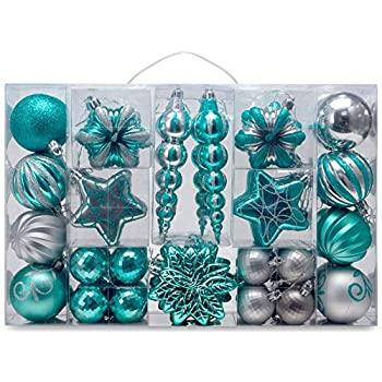 32 PCS Mixed Christmas Ball Pendant Xmas Tree Ornaments Decorations Set Blue /& Silver