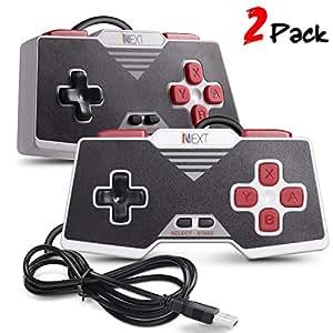 iNNEXT 2x Retro USB Gamepad para Súper SNES controlador Mando de juegos Controller para PC / Mac( Rojo)